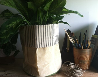LARGE Waxed Organic Canvas Bucket Bag with Pretty Cotton Liner - Nesting Fabric Bins