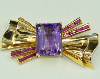 18k Ruby and Amathyst Brooch 1950s