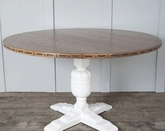 Beautiful Round Oak Dining Table with White Pedestal