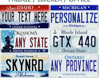 Personalized Mini License Plate Fridge / Hot Wheels / Car / Bike / Magnet Any State / Province / Team Any Text
