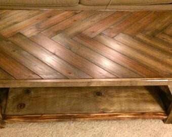 Rustic Herringbone Solid Wood Coffee Table
