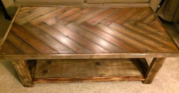 - Items Similar To Rustic Herringbone Solid Wood Coffee Table On Etsy