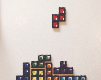 TETRIS || Arcade Game of Tetris Perler Bead Sprite Magnet Set -- 7 pc