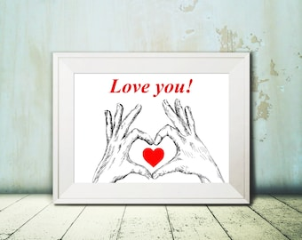 Love heart hands sign poster - heart print, Valentines gift, Personalized wall art, Teen wall decor, Art printable, Art & collectibles