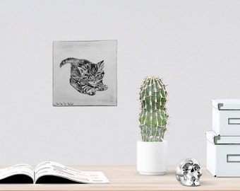 Kitten wall decor - Black and white print, Print on wood, Cat wall art, Nursery decor, Wood signs, Back to school