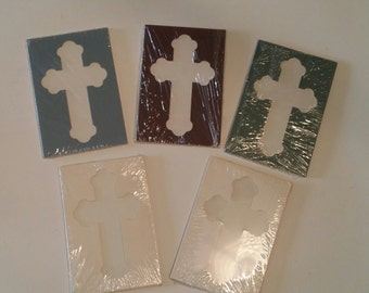 Vintage Cross shaped framing mats, Lot of vintage framing mats, religious framing mats