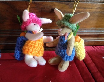 Tiny Easter Bunny Decor with Crocheted clothes and bunny bag