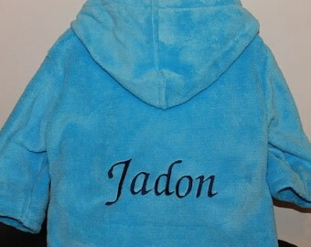 Personalised Embroidered Baby Dressing Gown. Blue 6-12 Months