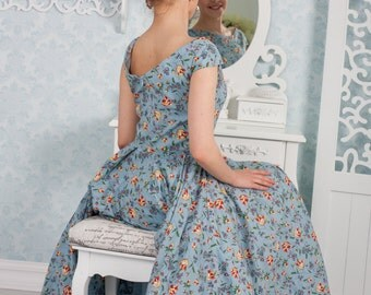 Women's blue floral dress with circle skirt