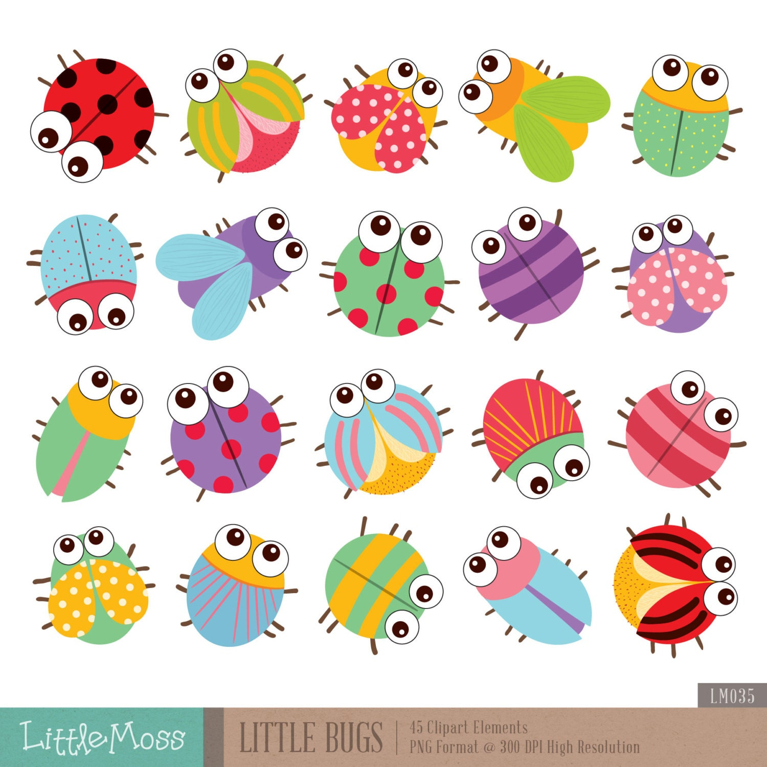 Little Bugs Clip...Spring Insects Clipart