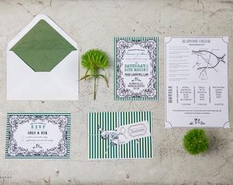 Vintage Stripe Wedding Invitation and RSVP