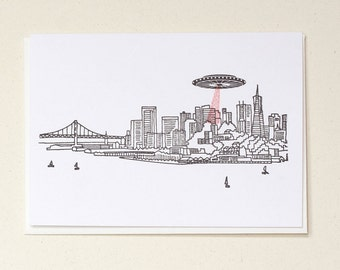 Invasion San Francisco Letterpress Greeting Card