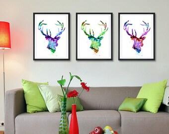 Deer Art Print Set, Buy 2 Get 1 FREE!!!, Watercolor Painting, Home Decor Watercolor Painting, Animal Art (59)