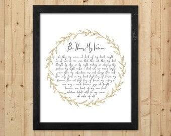 Printable Be Thou My Vision Wall Art / Christian Printable Hymn Lyrics / Christian Art Print / Faux Gold Foil Printable Quote