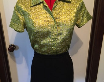 90s green silky button up blouse top