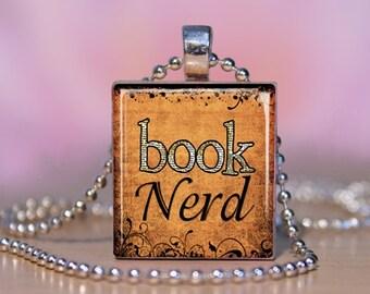BOOK NERD Book Lover Scrabble Jewelry.  Necklace Pendant / Charm Bracelet or Key Ring All Handmade on Scrabble Letter Tile. Fun Gift.