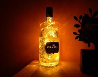 Upcycled Kraken rum bottle lamp - ideal for home, office, bar, man cave ... ANYWHERE
