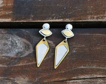 Geometric earrings Silver Brass  earrings, Triangle  earrings, Stud earrings