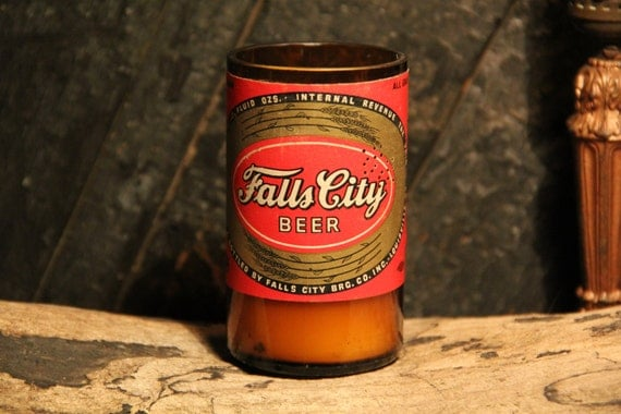 Vintage Upcycled Beer Bottle Candle - Falls City Beer Recycled Beer Bottle Candle 10 oz. Handmade Soy Wax Candle