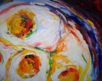 Eggs, original acrylic painting, 21x29.7cm