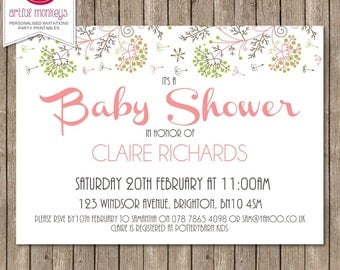 Elegant Girl Baby Shower Invitation