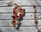 Reclaimed Wood Wall Art, Isometric Tessellation no. 111