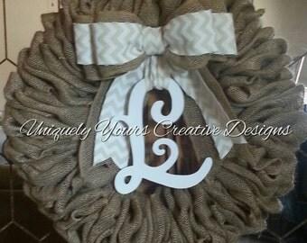 Monogram Burlap Wreath with Chevron Burlap Bow, Rustic Monogram Wreath, Intial Wreath, Burlap Wreath, Rustic Burlap Wreath Personalized Gift