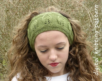 Knitting Pattern PDF Leaf Motif Headband (Knit in the Round Version)