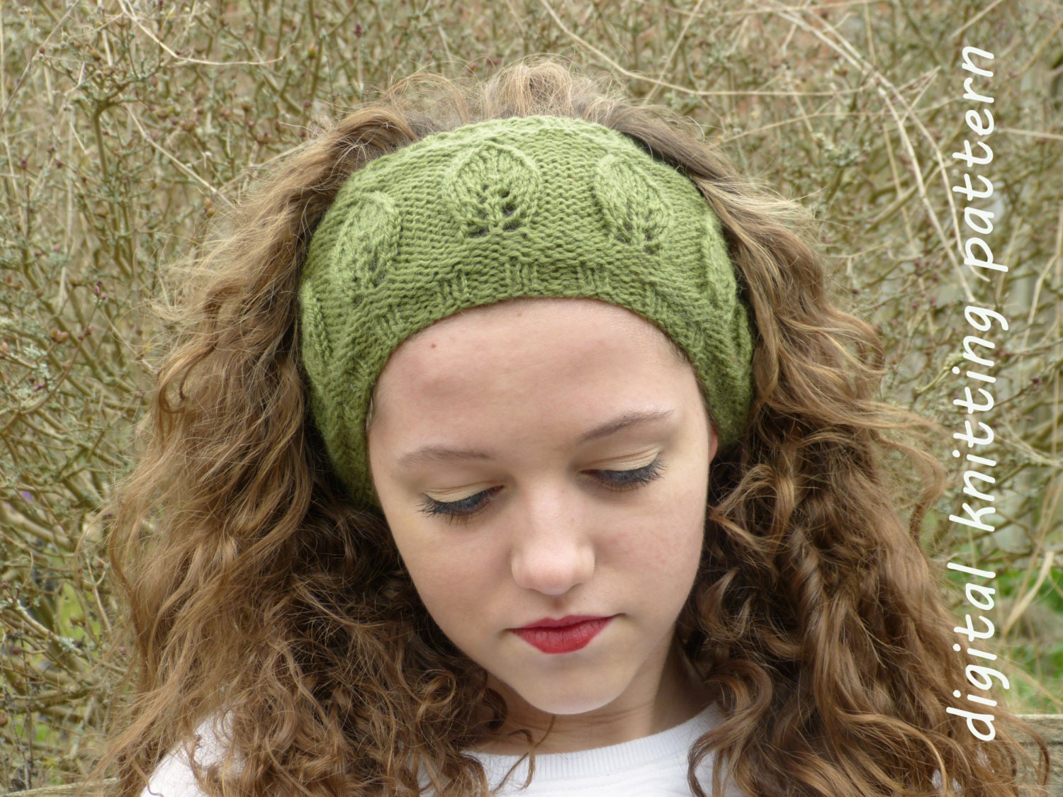 Knit Headband Pattern In The Round : Knitting Pattern PDF Leaf Motif Headband Knit in the Round