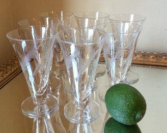 Set of 8 apéritif glasses etched with palm fronds 4 oz.