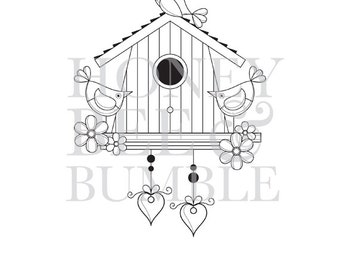 Digital Stamp - Instant Download - Birds Of a Feather - Our House - COMMERCIAL USE