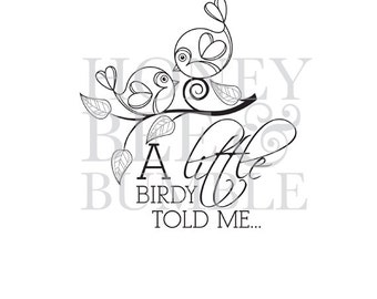 Digital Stamp - Instant Download - Birds Of A Feather - A Little Birdy Told Me - COMMERCIAL USE
