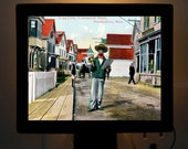 Nightlight Provincetown Town Crier Provincetown MA Cape Cod MA Hand Tint Postcard Colorful Bedroom Bathroom Bridal Gift idea