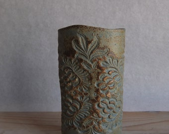Stoneware lace imprinted cylinder