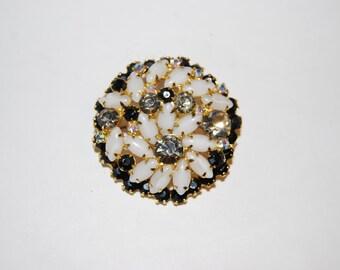 D&E Juliana Black, Grey and White Rhinestone Flower Circle Brooch