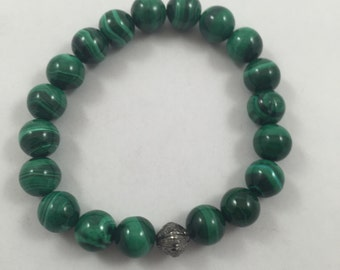 New GORGEOUS 12mm Malachite and Genuine Diamond in 18K White Gold over Silver Bead Bracelet