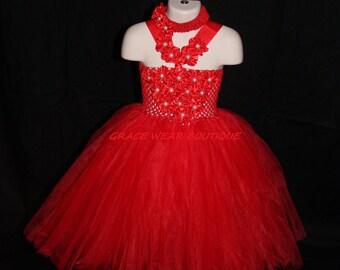 Red Flower Princess/Tutu Dress