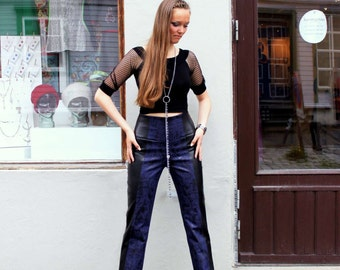50% discount !! denim & fake stretch leather pants - limited offer