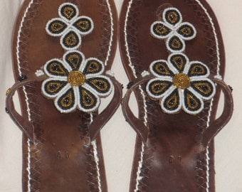 Handmade leather and bead Maasai sandals, one of design,  size 40/7/25.5cms