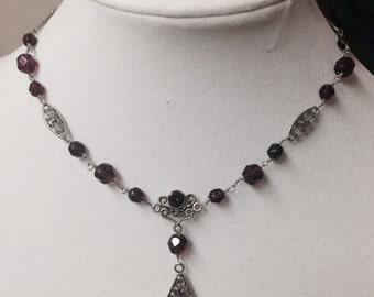 Vintage Amethyst Filigree Necklace in Silver