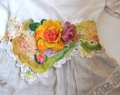 Flower belt / lace belt / cotton belt / accessories / cord / strap , romantic belt, flower sash, lace belt, hand painted belt, handmade belt