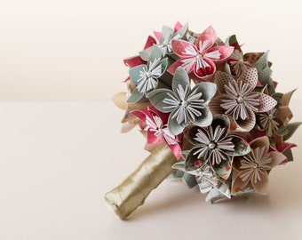Origami flower bouquet, Origami bouquet, Paper flower bouquet, Wedding bouquet, Paper flower bouquet, Kusudama bouquet