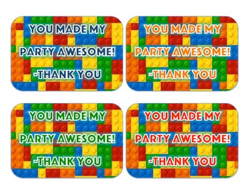 Lego Birthday Party Printable Gift Favor Tags Instant Download