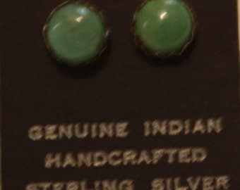 Native American Sterling Silver Turquoise or Coral Stud Earrings