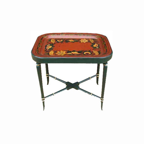 19th c painted tole tray table c 1850 for Table insert th