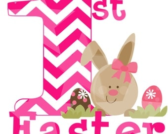 INSTANT DOWNLOAD First Easter Pink Chevron Digital Image