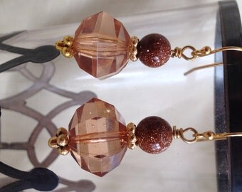 Faceted Light Amber Vintage Acrylic Bead Earrings