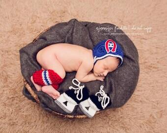Montreal Canadiens,,,NHL Canadiens Hockey Helmet ,skates, hockey socks, hockey Leg Warmers , hockey skates,Baby newborn photography prop.
