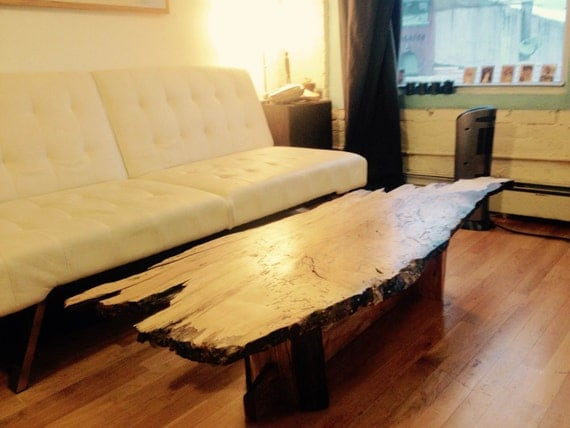 Maple Wood Slab Coffee Table With Natural Live Edge
