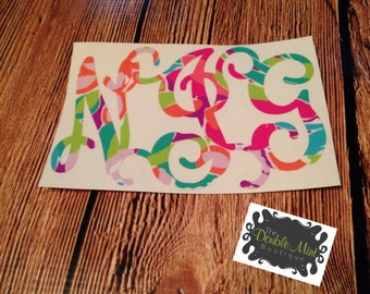 Lilly Inspired Scroll Monogram Decal